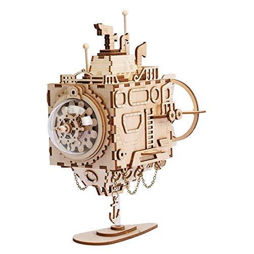 ROBOTIME U-Boot Spieluhr  - Erwachsene Modell Kits - Laser schneiden Holzpuzzle 3D-Puzzle-Spielzeug Alten Jungen und Mädchen-DIY Woodcraft Construction Kit
