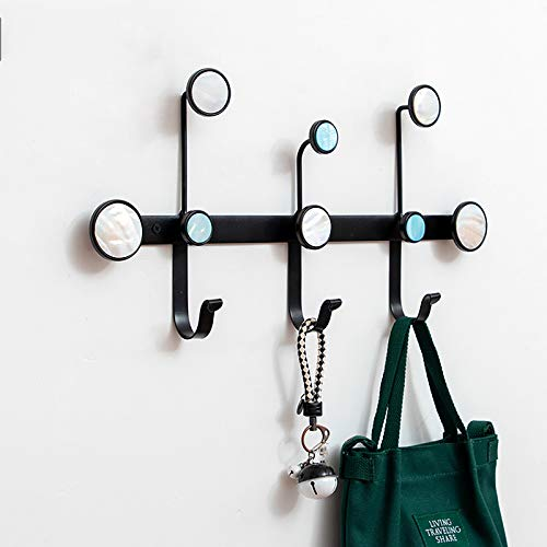 Gancho de capa de pared de metal, gancho de capa de pared sin clavo, gancho multifunción, estante de pared de hierro, único y fácil de instalar black-3 hooks