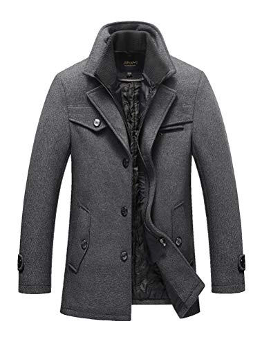 Mordenmiss Men's Quilted Wool Coat Slim Fit Single Breasted Thick Walker Coat with Romveable Collar L Dark Gray