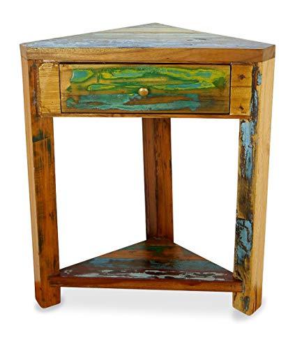 livasia Teakholz Eckschrank aus Java | Recyceltes buntes Bootsholz | Asiatische Möbel | Designer Möbel aus Bootsholz | Eckregal der Marke Asia Wohnstudio | Nachttisch