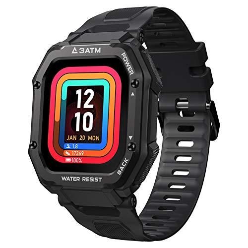 Reloj inteligente deportivo con monitor de presión arterial y tacto completo al aire libre, reloj 3ATM impermeable natación smartwacth para hombres (color negro)