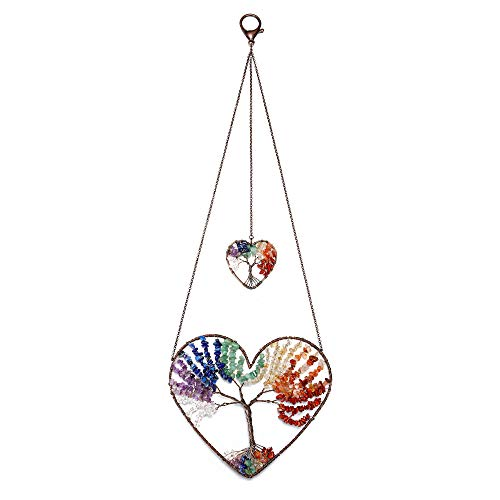 JSDDE Heart 7 Chakra Healing Crystal Tree of Life Hanging Ornament Wire Quartz Gemstone Wall Hanger Home Office Windows Decoration Meditation Balancing