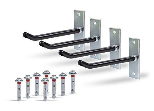 GAH-Alberts 801960 Felgenhalter-Set | Wandhalterung für Autofelgen | Reifenhalter mit überzogenem PVC-Schlauch | galvanisch verzinkt | 20 cm lange Felgen-Haken
