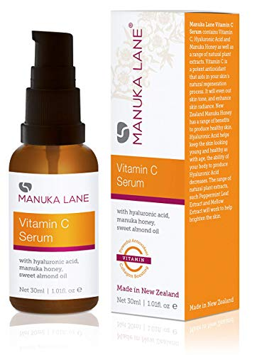 Vitamin C Serum for Face and Neck with Hyaluronic Acid, Manuka Honey & Sweet Almond Oil | Plant Based Formula | Carefully formulated to keep your skin young and healthy!