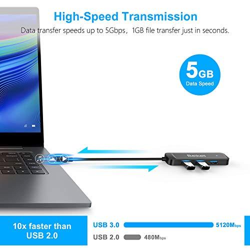 Beikell Hub USB 3.0, 4 Porte Hub USB Ultra Sottile per MacBook Air, Mac PRO/Mini, Windows XP/Vista/7/8/10, Linux, XPS - Trasmissione Dati Alta velocità (5 Gbps) e Sincronizzazione