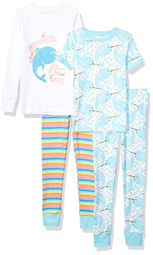 Spotted Zebra Girls' Infant Snug-Fit Cotton Pajamas Sleepwear Sets, 4-Piece Narwhals, 24 Months