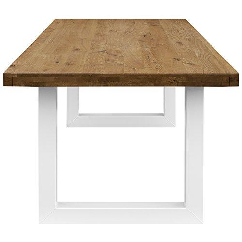 COMIFORT Mesa de Comedor - Mueble para Salon Oficina Despacho Robusto y Moderno de Roble Macizo Color Ahumado, Patas de Acero U-Forma Blancas (140x90 cm)