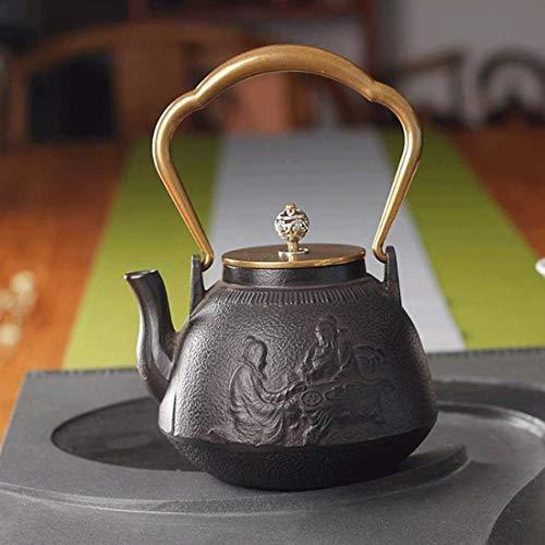 Tetera de Hierro Fundido, té de Hierro Fundido, hervidor de té de Hierro Fundido Vintage, coladores de té saludables Resistentes al Calor de Gran tamaño, para Fiestas, conferencias, oficinas, 1.3 L,