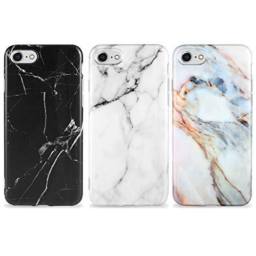 AROYI [3 Stück iPhone SE Hülle Matt Marmor, Weich Silikon Handyhülle Stein Marble Ultra Dünn Handytasche Flexibel Kratzfest Schutzhülle Cover für iPhone 7/8/ SE(2020) (weiß Schwarz)
