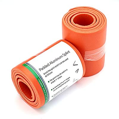 """Emergency Splint - 36"""" Universal Aluminum Rolled Splint, Assorted Colors - Ideal for Sports, Home, First Aid, Pets (Orange, 2 Rolls) from AsaTechmed"""