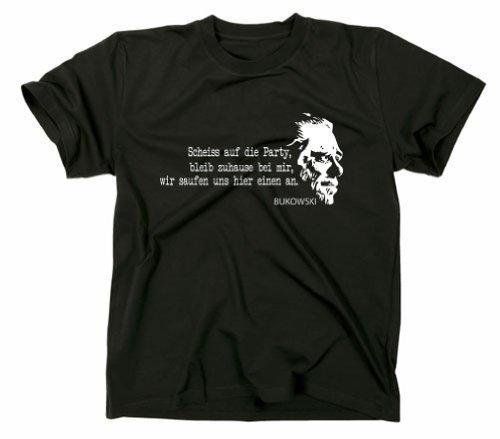 #2 Charles Bukowski Buk Kult T-Shirt, Zitat Quote, Hank, Schwarz, L