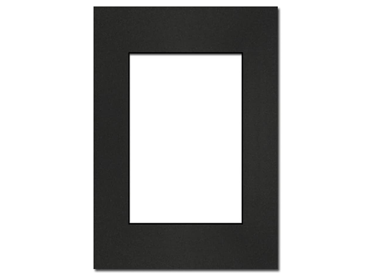 PA Framing, Photo Mat Board, 5 x 7 inches Frame for 3.5 x 5 inches Photo Art Size - Black Core/Black