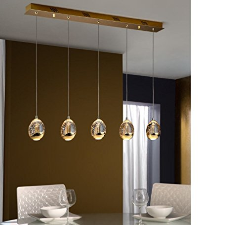 SCHULLER - LED-Pendelleuchte Rocio, 5 Lichter, goldfarben