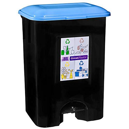 TODO HOGAR Cubo de Basura con Pedal 80 litros para Reciclaje de Papel en Color Negro
