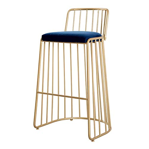 Luxury High Barstool for Kitchen Island, Counter Metal Leg Table Chair with Back Counter Height 75cm(29.5 inch) - Blue Velvet Cushion