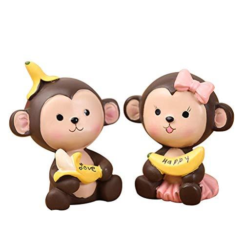 JYKFJ 2 uds, Adorno de Pastel de Monos Lindos creativos, Decoraciones para salpicadero de Coche, Adornos de Oficina en casa, Regalos de decoración de Navidad