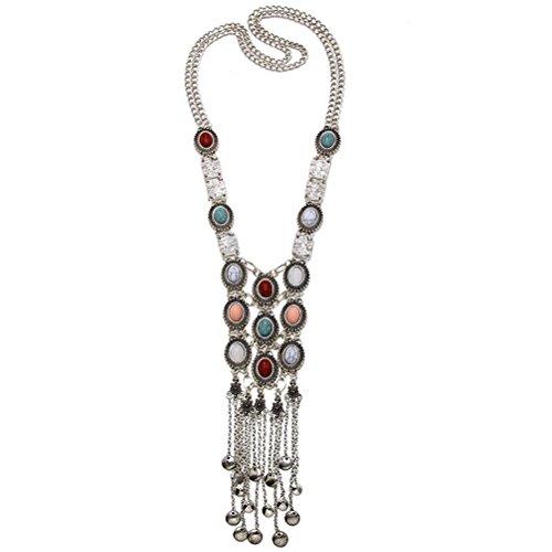 Turquoise Long Boho Bohemian Statement Ethnic Tribal Necklace for Women Vintage Retro Rhinestone (Silver)