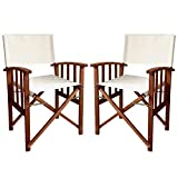 Set of Folding Directors Chairs in Wood for Garden, Ecru, Folding Armchairs with Armrests - 55x51x84h
