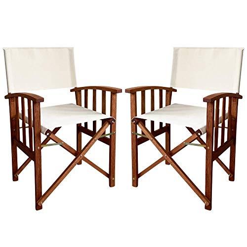 PiuShopping Set Sedie da Regista Pieghevoli in Legno da Esterno per Giardino, Ecru, Poltrone Richiudibili con Braccioli - 55x51x84h