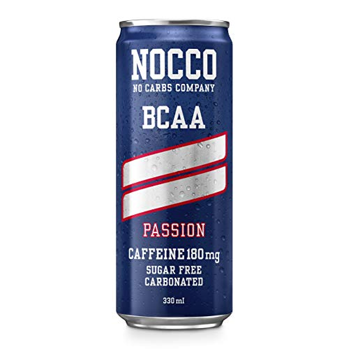NOCCO BCAA Passion 24 x 330ml | Zero Sugar | Functional Energy Drink | No Carbs Company | Vitamin Enhanced with 180mg Caffeine | Flavoured Functional Drinks for Health, Fitness & Everyday