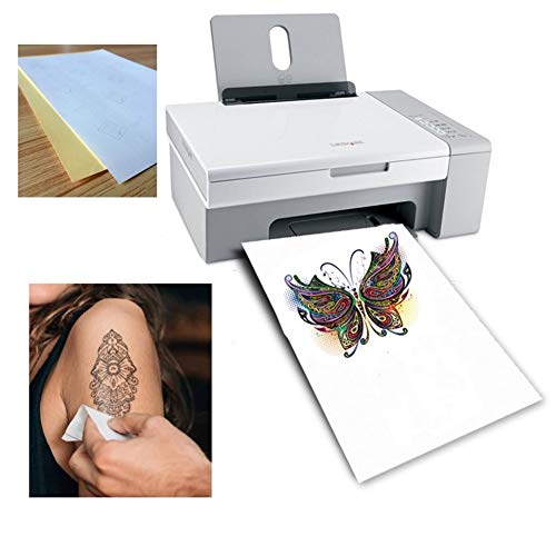 North cool A4 DIY Art Tattoo Papier Wasserdicht Temporäre Tätowierung-Haut-Papier for Tintenstrahl- Oder Laserdruck Drucker for Tattoo Männer Kinder Fotopapier (Tamaño : Laser Tattoo Paper)