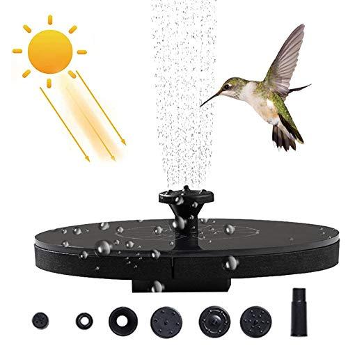 Fontein op zonne-energie, 1,4 W, met zonnepaneel, ingebouwde batterij, waterpomp, drijvende fonteinpomp met 6 fonteinstijlen voor tuin, vogelbad, vijver, visbak