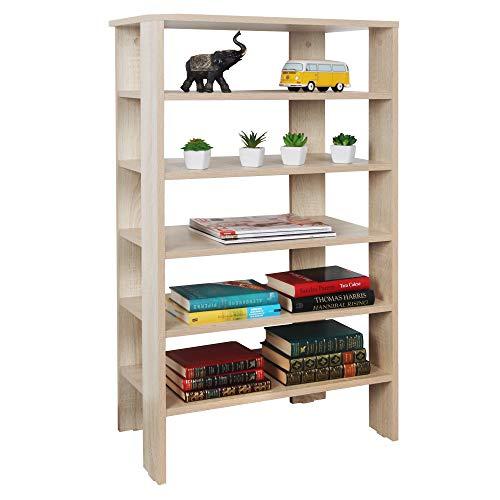 RICOO Schuh-Regal (WM041-ES) 105 x 60 x 32 cm Holz-Regal Braun Eiche Sonoma Stand-Regal Schuh-Schrank Bücher-Regal Organizer Bücher-Schrank Wohn-Zimmer