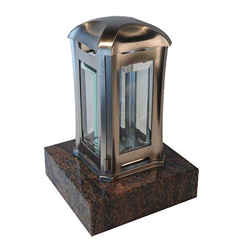 designgrab ael5agb 1gnei Lampe tombale Venezia en Acier Inoxydable, Argent, 13 x 13 x 24 cm