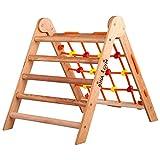 RINAGYM-Kletterdreieck - Indoor-Leiter mit Kletternetz - Zusammenklappbarer Holzrahmen für Kinder, fördert das Gleichgewicht - Farbe & Lack auf Wasserbasis, Sicherheitsschloss - 50 kg Tragkraft