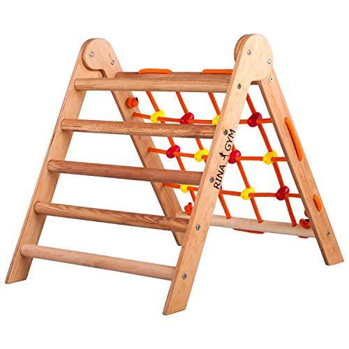 RINAGYM-Kletterdreieck - Indoor-Leiter mit Kletternetz - Holzrahmen für Kinder, fördert das Gleichgewicht - Farbe & Lack auf Wasserbasis - 50 kg Tragkraft