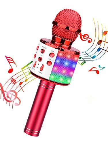 ShinePick Micrófono Karaoke Bluetooth, Microfono Inalámbrico Karaoke Portátil con Altavoz para Niños Canta Partido Musica, Compatible con Android/iOS PC, AUX o Teléfono Inteligente (Rojo)