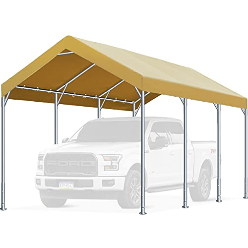 FINFREE 10 x 20 ft Heavy Duty Carport Car Canopy, Garage Shelter for Outdoor Party, Birthday, Garden, Boat, Adjustable Height from 9.5 ft to 11 ft Beige