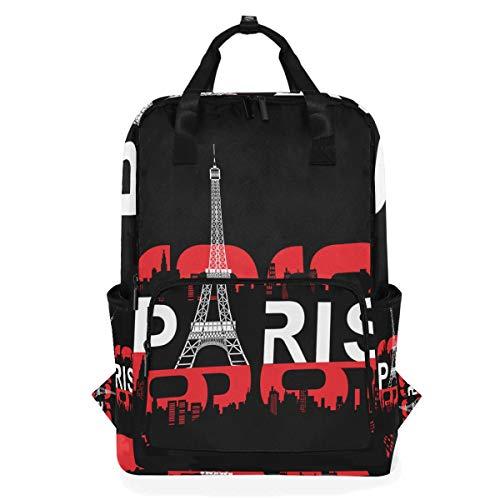 ZOMOY Rucksäcke,Paris Eifel Turm Typografie T Shirt,Neue lässige Laptop leichte Tagesrucksack Leinwand College School Travel Umhängetasche Camping Klettern Wandern Taschen