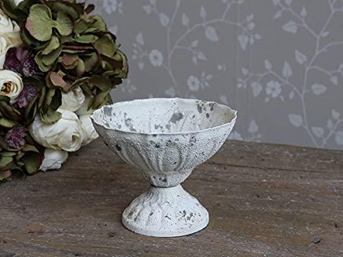 Chic Antique Ciotola decorativa per calice in stile shabby chic, colore: bianco, Ø 13 x 10 cm