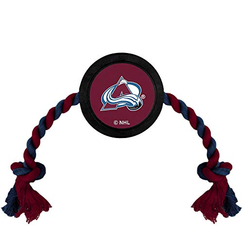 Pets First Dog Rubber Toy Tough Rubber with Heavy-Duty Dog Rope Tug Toy. NHL Colorado Avalanche Puck Toy for Dogs & Cats. Play Hockey with Your Pet with This Licensed Dog Puck Rubber Cool Toy!