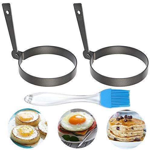 Iindes - Anillos de huevo antiadherentes para freír 2 piezas de molde redondo para panqueques con cepillo de aceite...