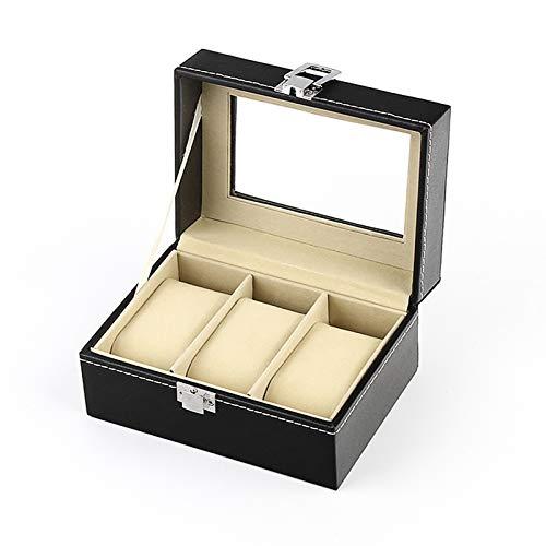 JIAYU Caja Relojes-Caja Reloj La Caja De Almacenamiento De Reloj De PU con 3 Ranuras para Relojes Se Puede Usar para Relojes De Hombres Y Mujeres, con Pantalla De Vidrio, Negro Clásico