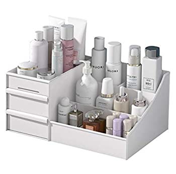 Makeup Organizer With Drawers — Countertop Organizer for Cosmetics Vanity Holder for Lipstick Brushes Lotions Eyeshadow Nail Polish and Jewelry  White