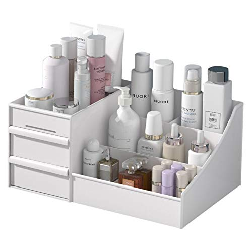Makeup Desk Organizer With Drawers — Countertop Organizer for Cosmetics, Vanity Holder for...