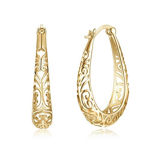 Lovans - Orecchini a cerchio da donna, a perno, in argento 925, design intarsiato e Argento, colore: Oro, cod. WG207A