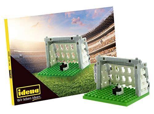 Idena 40147 - Postkarte Fußball mit einem 3D Modellbauset mit 142 Original Brixies Minibausteinen, Schwierigkeitsgrad 1, Grußkarte oder Mitbringsel für Kinder und Erwachsene