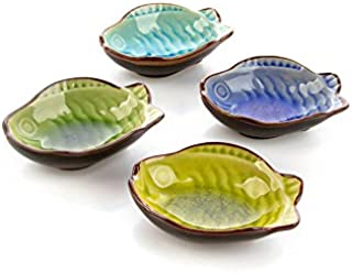 DeFancy 4 Pack Japanese Calvings Glaze Ceramic Side Dish Plate Dipping Sauce Dish (Fish-shaped)