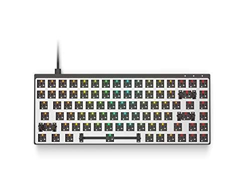 Modulare Mechanische Gaming Tastatur - 75% Layout - ANSI US-Layout - USB Typ C - Vollaluminiumgehäuse von HK Gaming (Barebone, Schwarz)