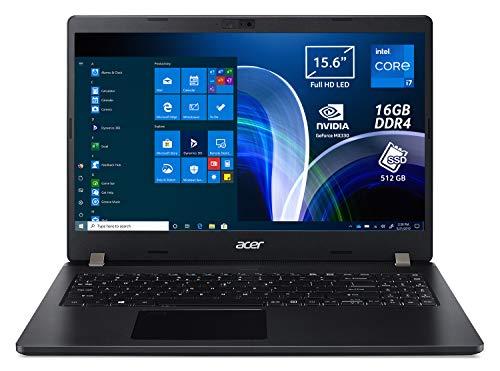 Acer TravelMate P2 TMP215-53G-74QN Pc Portatile, Notebook con Processore Intel Core i7-1165G7, Ram 16 GB DDR4, 512 GB PCIe NVMe SSD, Display 15.6  FHD, NVIDIA GeForce MX330 2 GB GDDR5, Windows 10 Pro