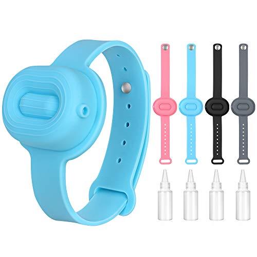 Silikon Händedesinfektionsmittel Armband, 4PCS Handwaschgel Armband Tragbarer Seifenspender Lotion Shalter mit Quetschflaschen für Kinder und Erwachsene auf Schulbüroreisen (4 Farben)