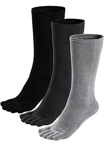 Mens Toe Socks Cotton Athletic Running Ankle Five Finger Crew Socks (one size 7-11, Pure mixed color-3 pairs)