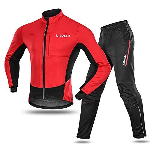 Lixada vattentät cykeldräkt för män termisk fleece vindtät vinter cykling sportjacka + byxor för cykling ridning löpning