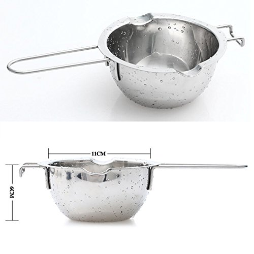 Lznlink Universal Double Boiler Stainless Steel Chocolate Melting Pot Furnace Heated Milk Bowl with Handle Heated Butter Tool Baking Pastry Tools