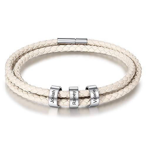 DaMei Personalisierter Armbänder für Männer Damen mit Gravur Anhänger Paar Lederarmband mit 1-4 Namen Gravur Echtlederarmband Schmuck für Herren - Geschenk für Weihnachten (White-3ring, 21)