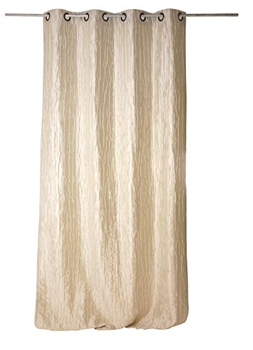 Linder Rideau - 8 œillets Fusil Ronds, 65% Viscose 35% Polyester, Blanc, 135X260